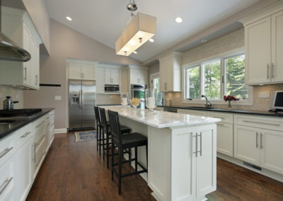 Kitchen with granite counter island